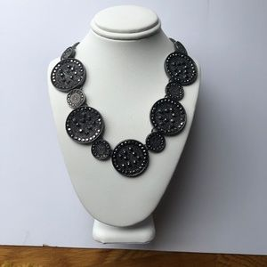 Silver Tone & Marcasite Coin Statement Necklace